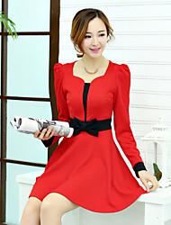 Women's Bodycon/Work Micro-elastic Long Sleeve Above Knee Dress