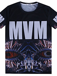 European Style TEE Digital Printing 3D T-shirt Wrinkled MVM Machine Eye Harajuku Sleeved T-shirt
