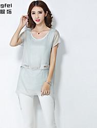 Women's Solid Green/Beige Blouse , Round Neck Short Sleeve Sequins