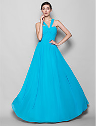 Lanting Floor-length Georgette Bridesmaid Dress - Pool Plus Sizes / Petite A-line / Sheath/Column Halter