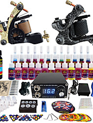 Solong Tattoo Complete Tattoo Kit 2 Pro Machine Guns 28 Inks Power Supply Needle Grips Tips