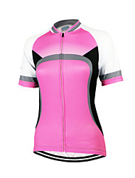 Arsuxeo Cycling Jersey Women's Short Sleeve Bike Breathable Quick Dry Anatomic Design Front Zipper Jersey Tops 100% PolyesterClassic