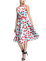 Women's Vintage Hepburn Cherry Print Party Dress (Polyester)