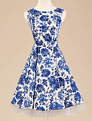 Women's Halter 50s Retro Flowers Print Rockabilly Sleeveless Dress(Not Include Petticoat)