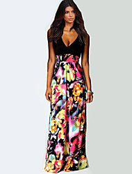 Women's Sexy Casual Print Cute Maxi Plus Sizes Inelastic Sleeveless Maxi Dress (Chiffon)