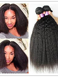 3Pcs/Lot Brazilian Virgin Hair Kinky Straight Weave Human Hair Straight Yaki Cheap Kinky Straight Hair