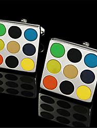 Men's Rainbow Dot Round Red Blue Blk Green Square Cufflinks