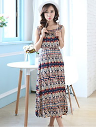 Women's Print Multi-color Dress , Beach/Print Round Neck Sleeveless