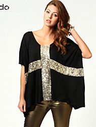 Women's White/Black T-shirt ½ Length Sleeve Sequins