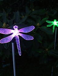 Pack of 2 Solar Color-Changing Dragonfly Garden Stake Light
