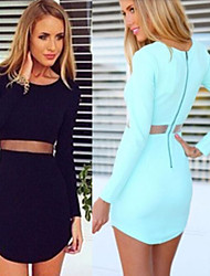 Women's Patchwork / Solid Color Blue / Black Dresses , Bodycon Round Long Sleeve