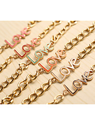 2015 Hot Sell Fashion Personality Letter Love Alloy Not Faded Bracelet Style Random Send  Freeshipping