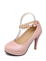 Women's Shoes Stiletto Heel Platform / Round Toe Heels Dress / Casual Blue / Pink / Beige