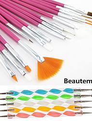 15pcs розовый ручка ногтей дизайн живопись графика ручка щетки&5шт 2-полосная расставить marbleizing пера инструмент