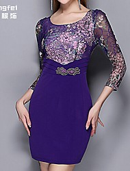 Women's Blue Dress , Print ¾ Sleeve