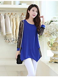 Women's Casual/Cute/Party Micro-elastic Long Sleeve Regular T-shirt (Mesh)