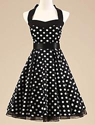 Women's Halter 50s Vintage Polka Dots Rockabilly Swing Dress(Not Include Petticoat)