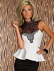 Women's Sexy/Casual Micro Elastic Sleeveless Regular Blouse (Cotton Blends)
