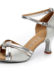 Women's Dance Shoes Sandals Satin Cuban Heel Gold/Silver/Camel