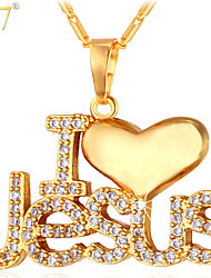 "U7® Unisex ""I Love Jesus"" Pendant 18K Real Gold/Platinum Plated Religious Jewelry Cubic Zirconia Necklace"