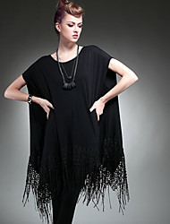 Women's Vintage Fashion Loose Plus Size Irregular Short Sleeve Tassel T-Shirt Blouse Shirt Tops XXXXXXL