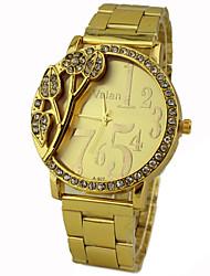 reloj de pulsera de cuarzo de banda de oro de línea de flores de diamantes de oro de las mujeres