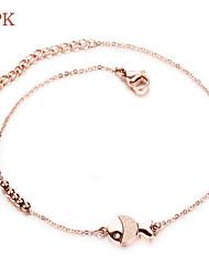 placage d'acier opk®stainless or rose beau poisson perle ronde ornements femme de pied cheville