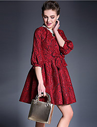 Women's Vintage/Lace Inelastic ¾ Sleeve Above Knee Dress (Lace/Satin/Mesh/Silk)
