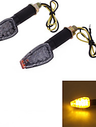 Motorcycle Yellow 14 LED Turn Signal Light Bulb Blinker Lens DC12V (2 Pcs)