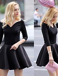 Women's Solid Color Black Dresses , Bodycon V-Neck ½ Length Sleeve
