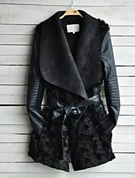 Women's Solid Black Jackets , Casual Shirt Collar Long Sleeve