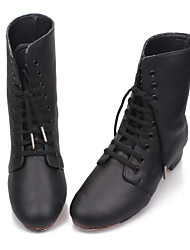 Non Customizable Men's/Kids' Dance Shoes Tap Leatherette/Synthetic Chunky Heel Black