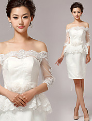 Sheath/Column Wedding Dress-Short/Mini Off-the-shoulder Lace
