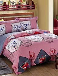 Red Geometry Cotton Bedding Set of 4pcs Queen Size