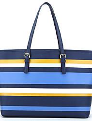 WEST BIKING® Dark Blue Color Stripe Cross Pattern Ladies Wild Casual Stripe Big Bag
