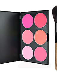 Pro Party 6 Colors Face Blush Blusher Powder Palette + 1PCS Powder Brush