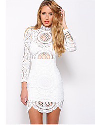 Women's Crochet Lace High Neck Mini Dress