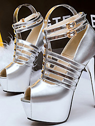Women's Shoes Faux Leather Stiletto Heel Heels/Peep Toe Sandals Dress/Casual Black/Silver/Gold