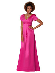 Sheath/Column Mother of the Bride Dress - Fuchsia Floor-length Satin Chiffon