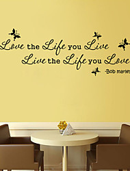 Wall Stickers Wall Decals Style Love Life Live English Words & Quotes PVC Wall Stickers