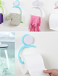 Wall Suction Seamless Cup Towel Holder Ring Bathroom Kitchen Hanging Accessory (Random Color)