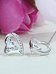 argent boucles d'oreilles en forme de coeur S925 sterling coréen mode haut de gamme élégant sterling de diamants