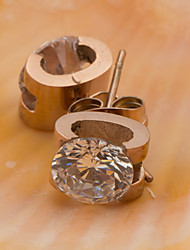 A Woman's Stainless Steel Rose Gold Earrings