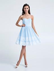 regreso a casa hasta la rodilla vestido de dama de gasa - cielo azul una línea strapless