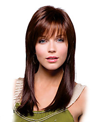 Capless Long Straight AuburnSynthetic Wig with Bang