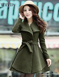 Women's Casual/Plus Sizes Medium Long Sleeve Long Coat (Cotton Blends)WP7D19