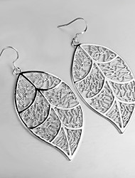 2015 Italy Style Leaf Design Silver Plated Drop Earrings for Lady