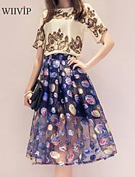 Damen Bluse  -  Stickerei/Blume/Gitter Polyester Kurzarm Rundhalsausschnitt