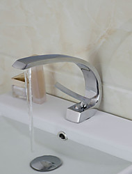Contemporary Brass One Handle One Hole Hot / Cold Water Bathroom Sink Faucet - Silver
