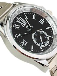 Couple's Round Case Silver Steel Band Quartz Wrist Watch